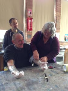 Mike being the model, Ann the hand-tape-surgeon& Andrew the supervisor